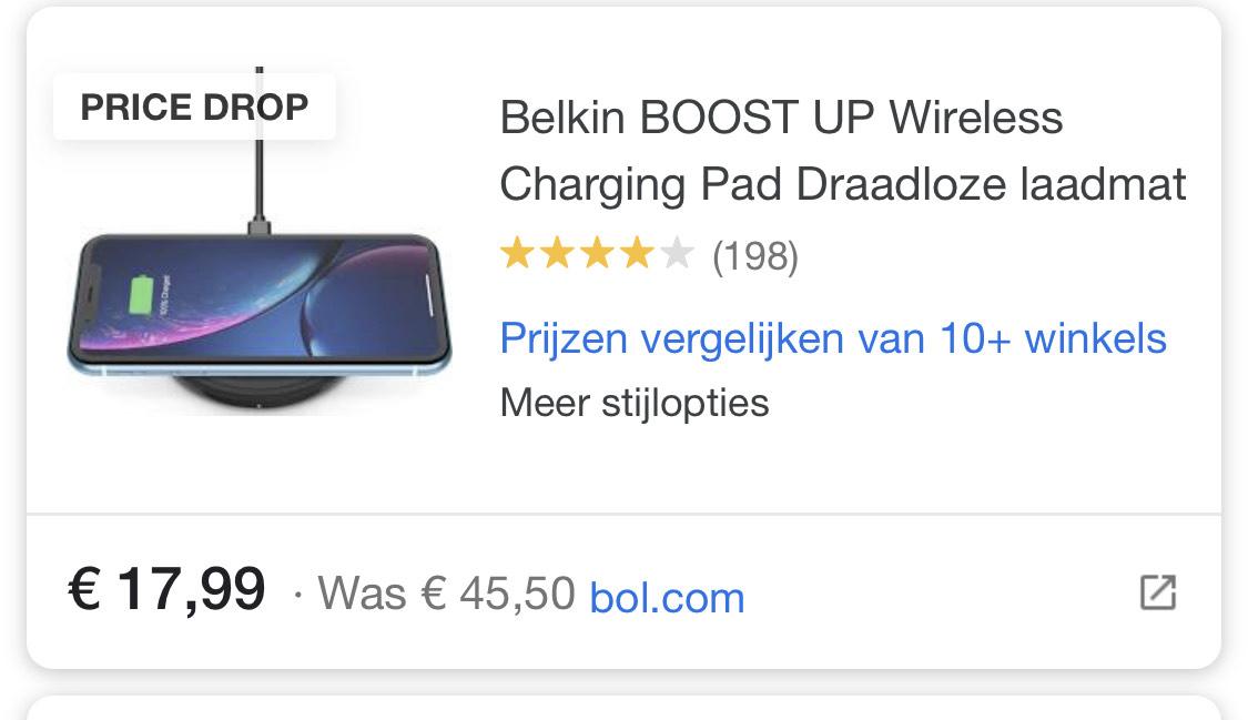 Belkin Boost Up Draadloze Oplader 10W (WIA001vfBK) @Bol.com en Amazon.nl
