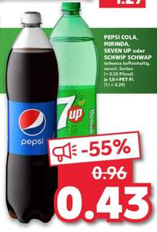 Pepsi, Mirinda, Seven Up, Schwip Schwap 1,5-liter fles @ Kaufland DE [Grensdeal]