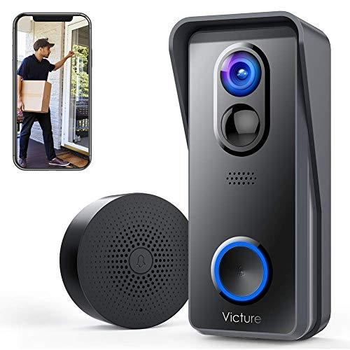 Draadloos Victure Smart Video deurbel met camera 1080p HD, PIR bewegingsdetectie, twee-weg intercomfunctie, wifi-verbinding