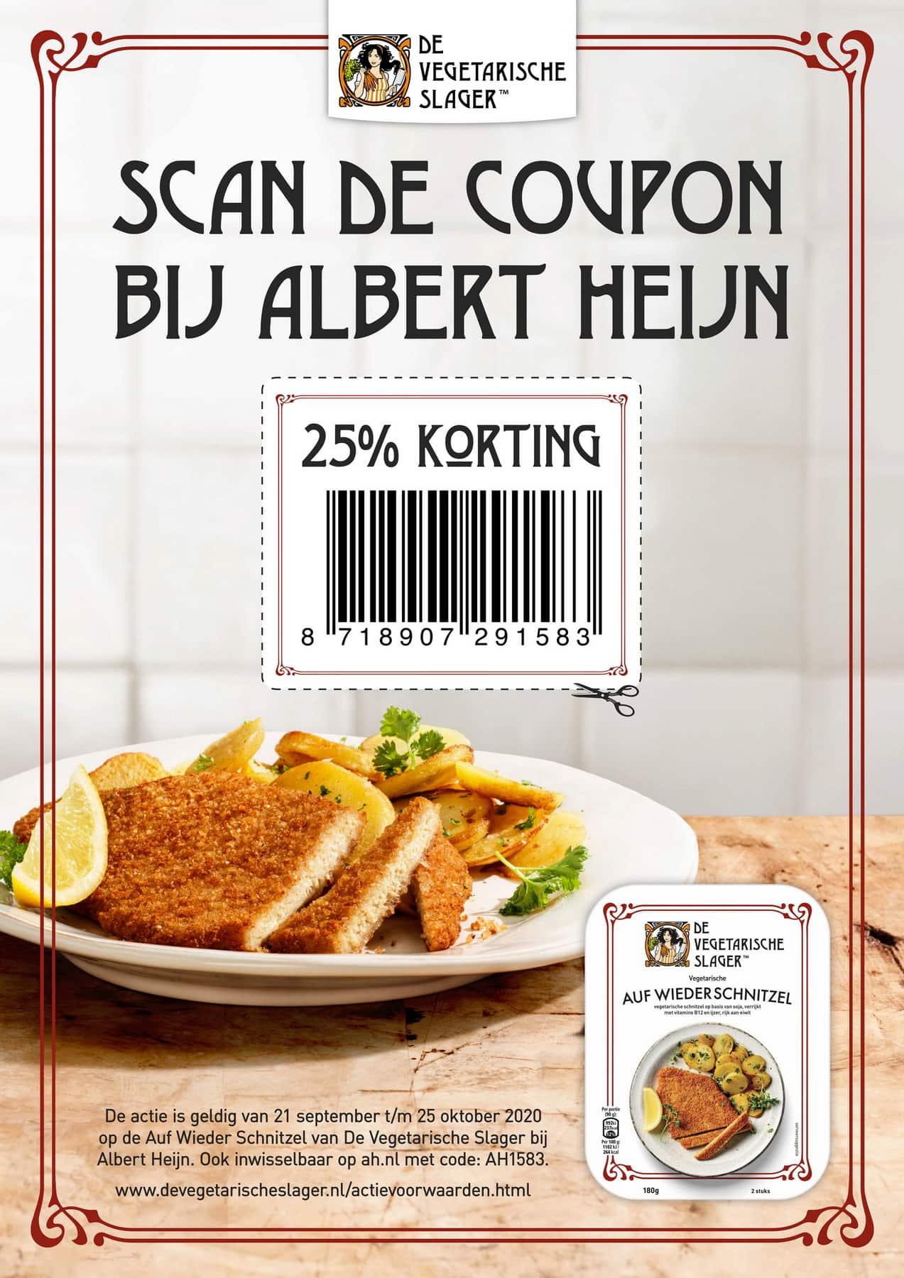 """25% korting bij de Albert Heijn op de """"Auf Wieder Schnitzel"""" van de Vegetarische Slager"""