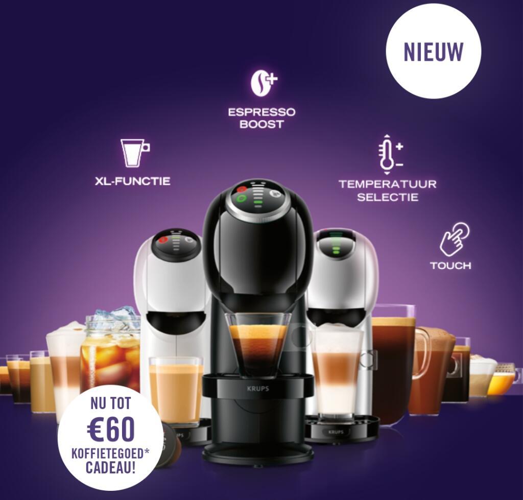 Tot €60 koffietegoed bij aankoop van één van de nieuwe Genio S modellen van Krups