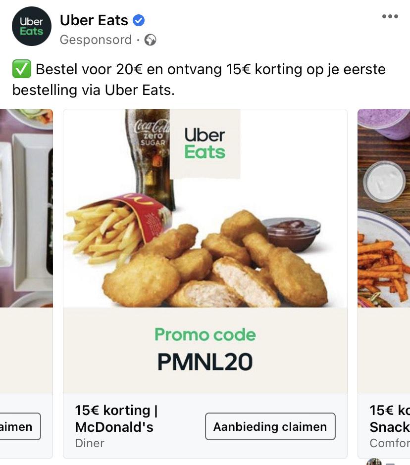 Bestel voor 20 euro via Uber eats en krijg 15 euro korting