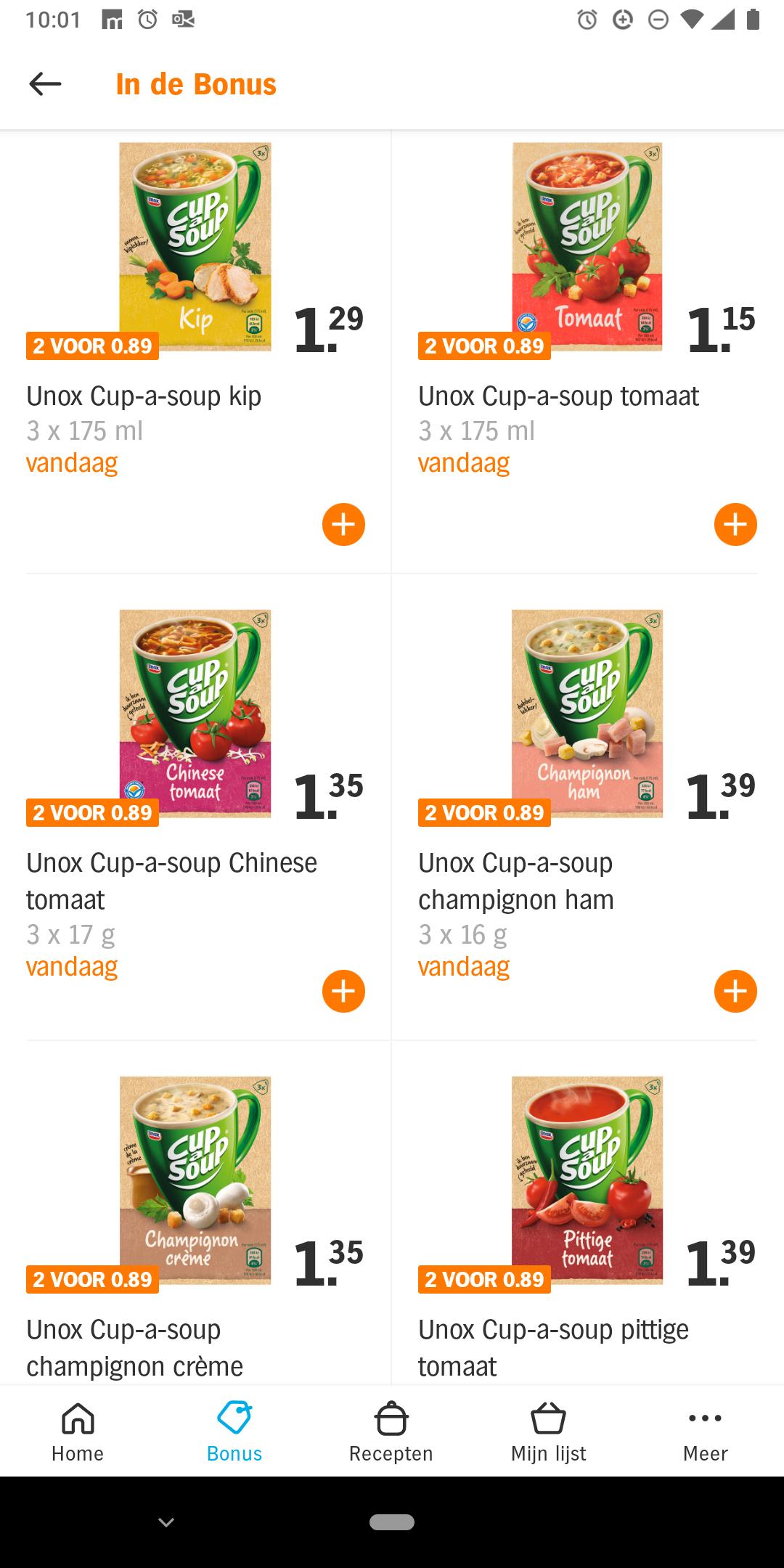 Dagaanbieding cup a soup 2 pakjes voor 89 cent @ Albert Heijn