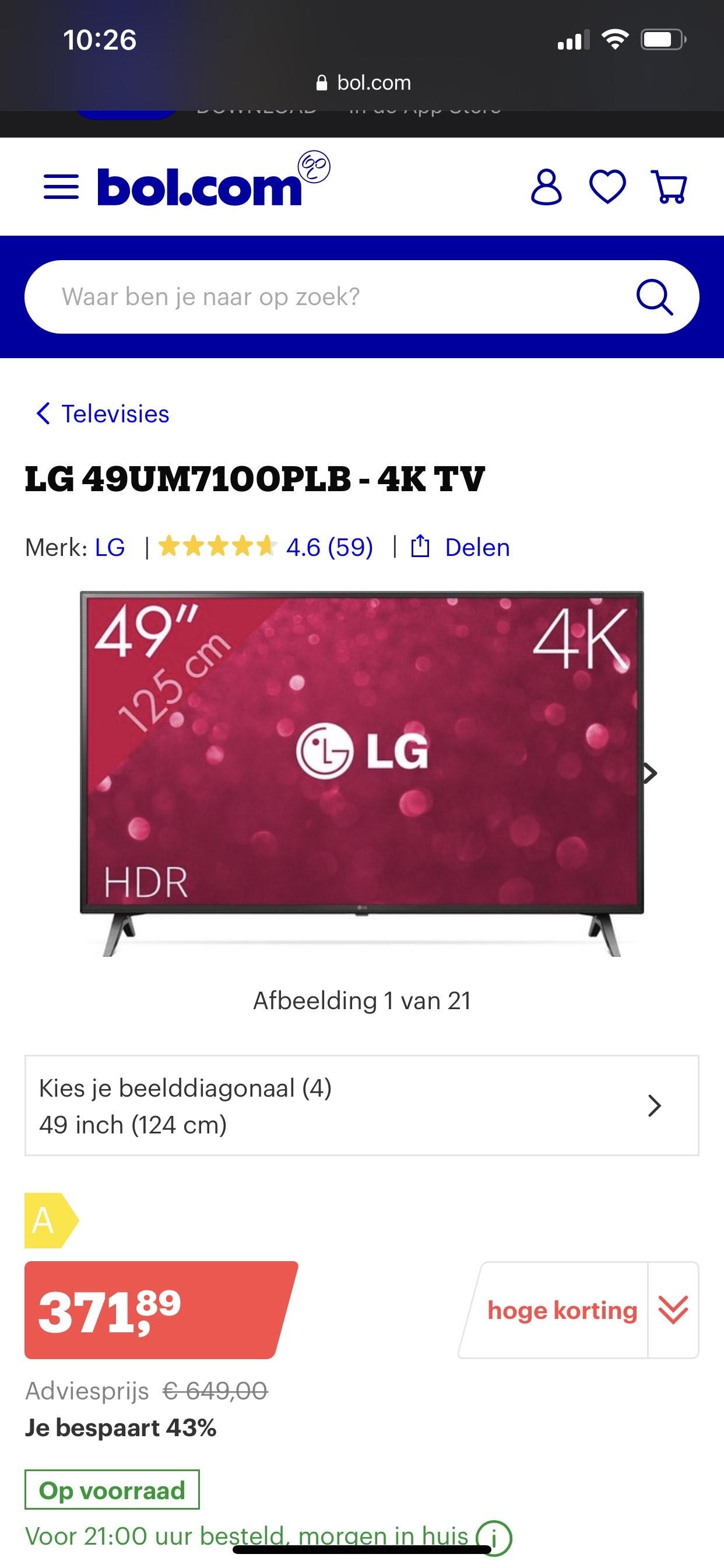 LG 49UM7100PLB - 4K TV 49 inch @ Bol.com Plaza