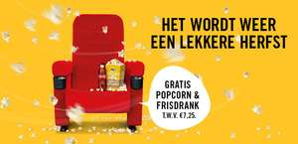 Gratis Popcorn en medium frisdrank (0,5L) bij Pathé Haarlem
