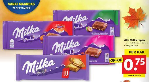 Milka chocoladerepen voor 75 cent per stuk @ Lidl
