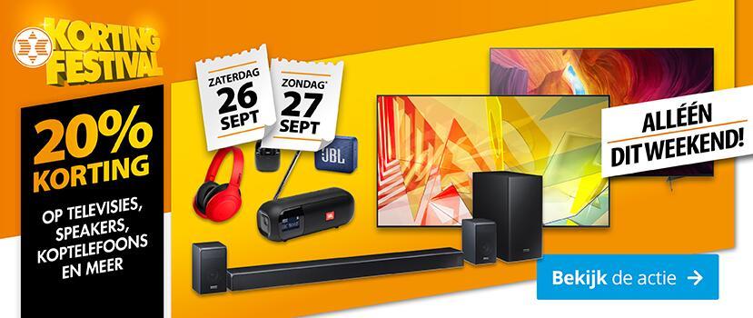 Dit weekend 20% korting op televisies (tot €500 cashback), muurbeugels, hifi audio, speakers, soundbars, koptelefoons en radio's @ Expert