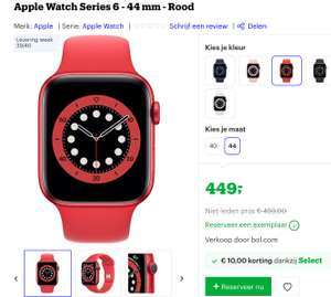 Apple Watch Series 6 - 44 mm - Rood @ Bol Select deal