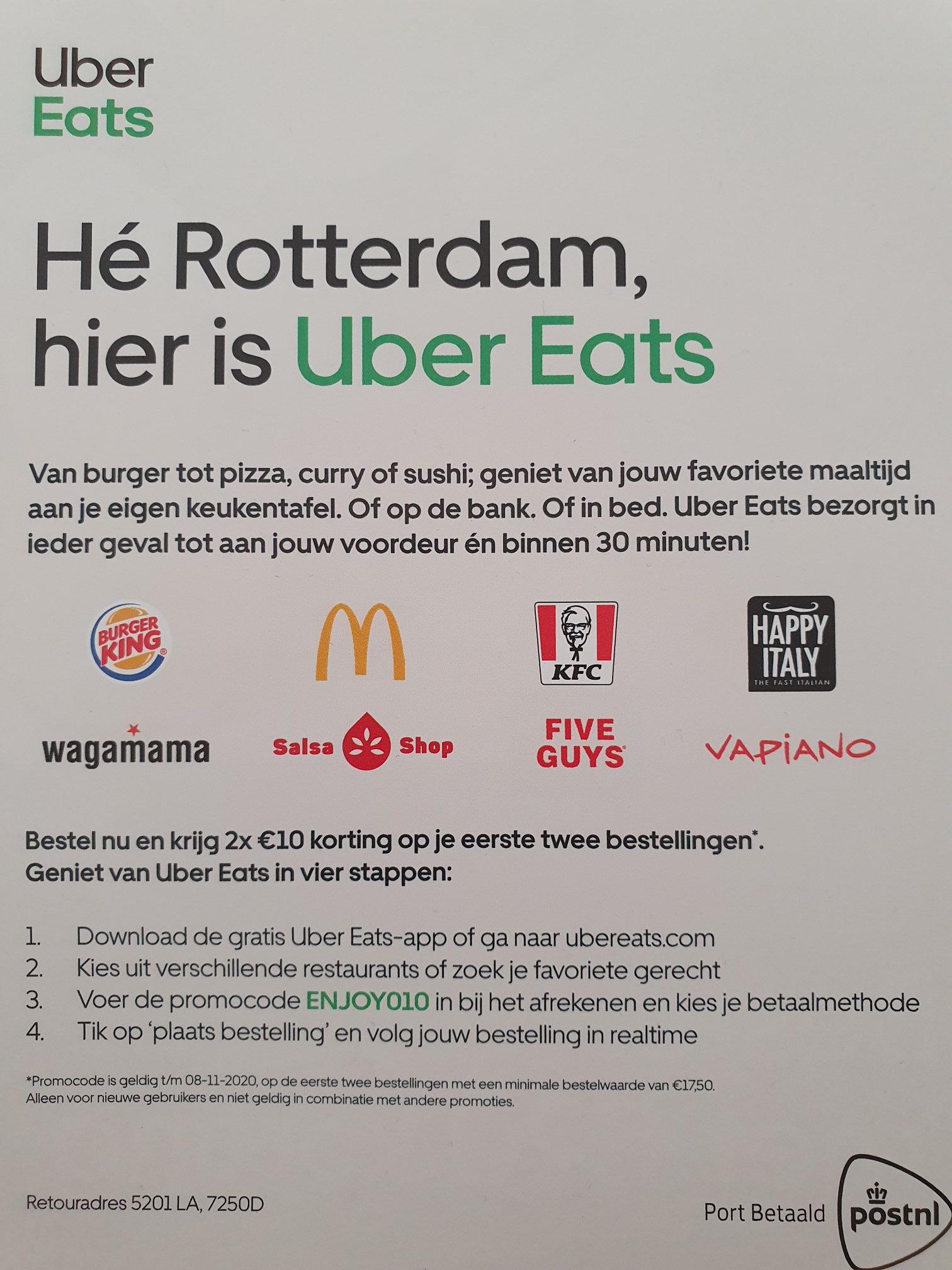 [Lokaal? - Rotterdam] Ubereats 2x 10€ korting