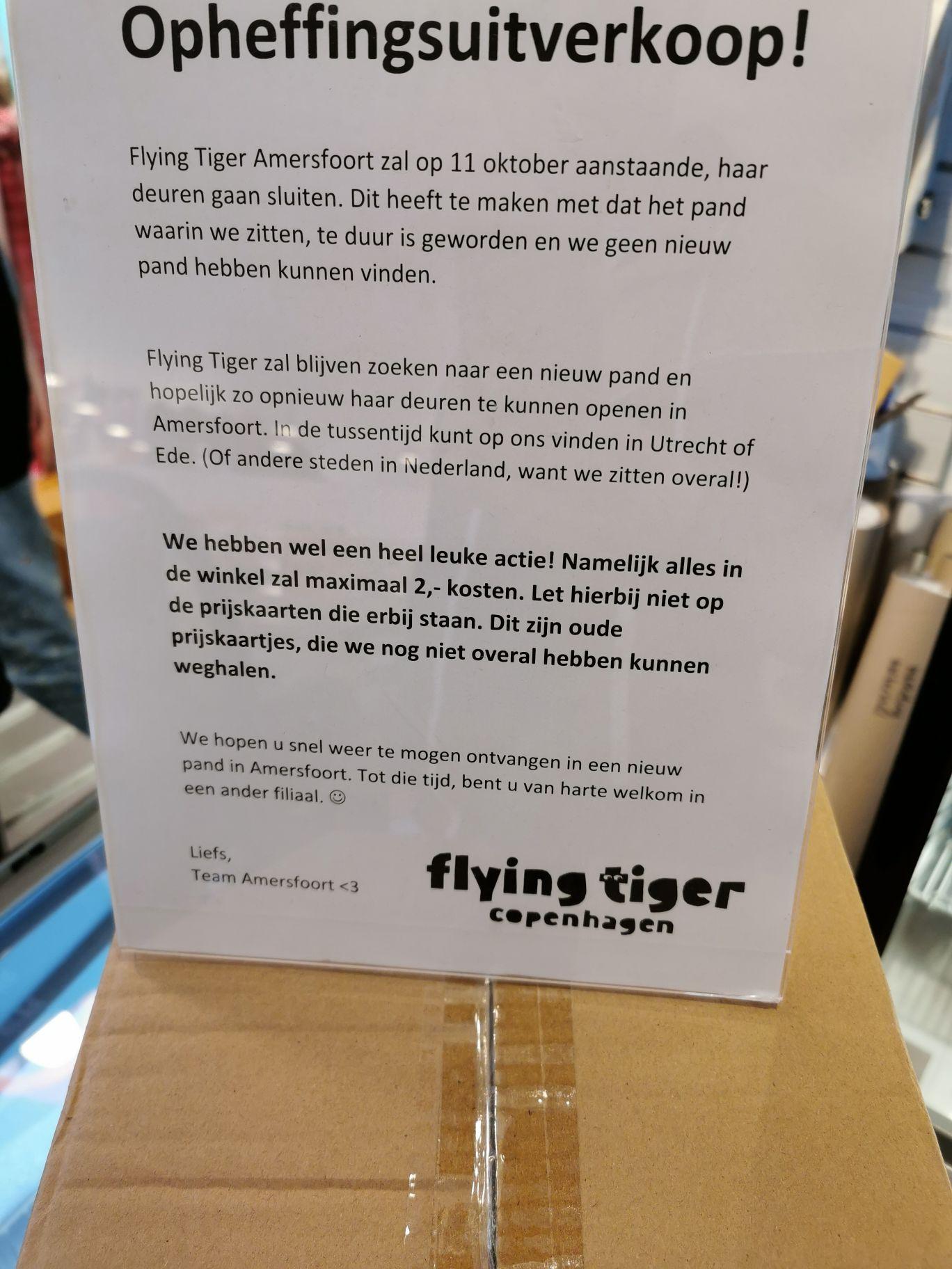 Opheffingsuitverkoop Flying Tiger Amersfoort