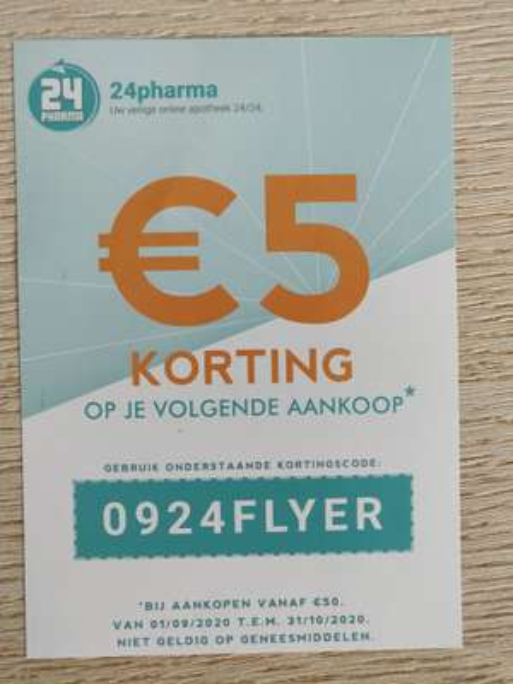 5€ Korting bij 24pharma.be bij minimale besteding vanaf €50
