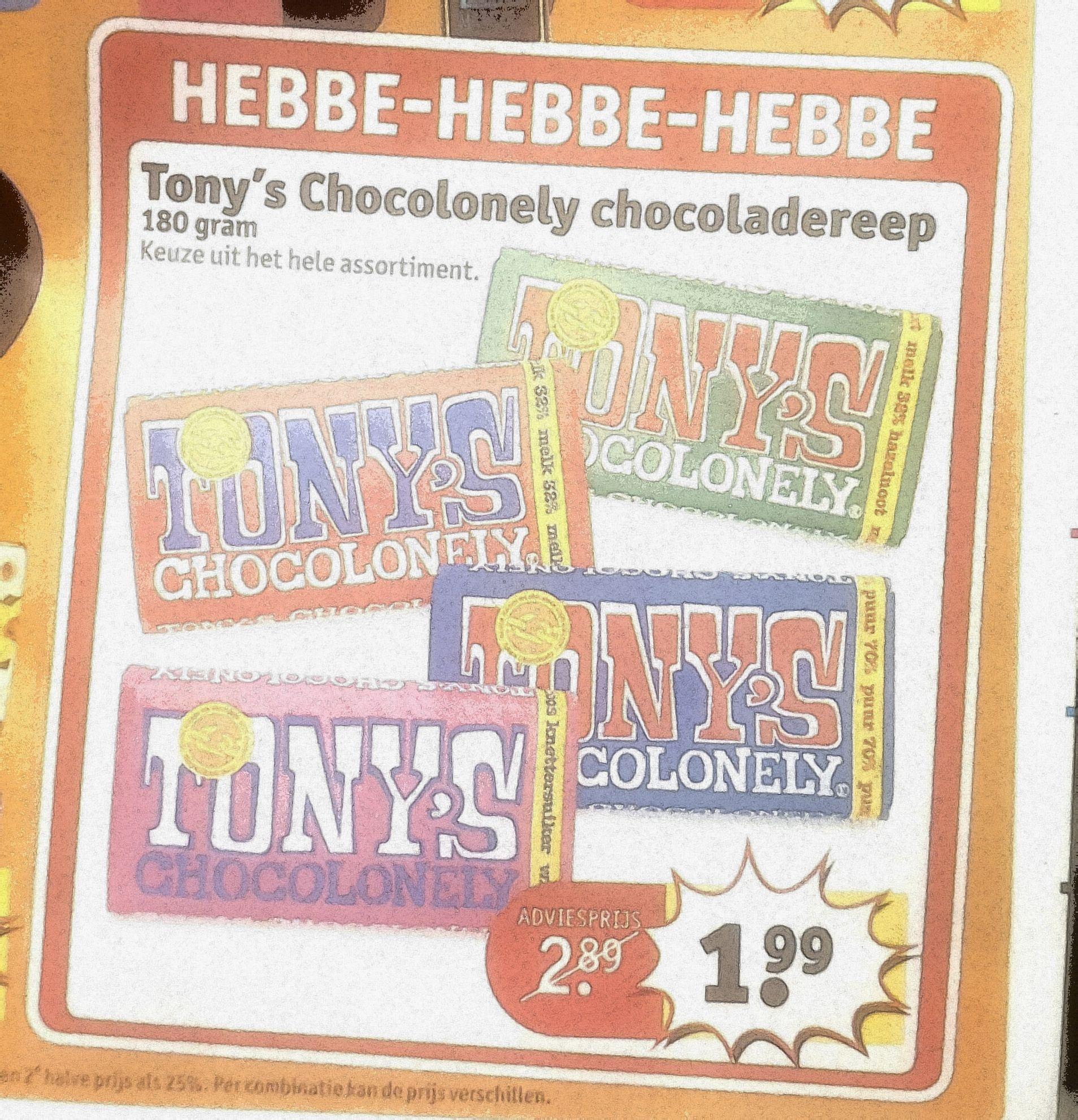 Tony's Chocolonely 180 gram €1,99 @Kruidvat