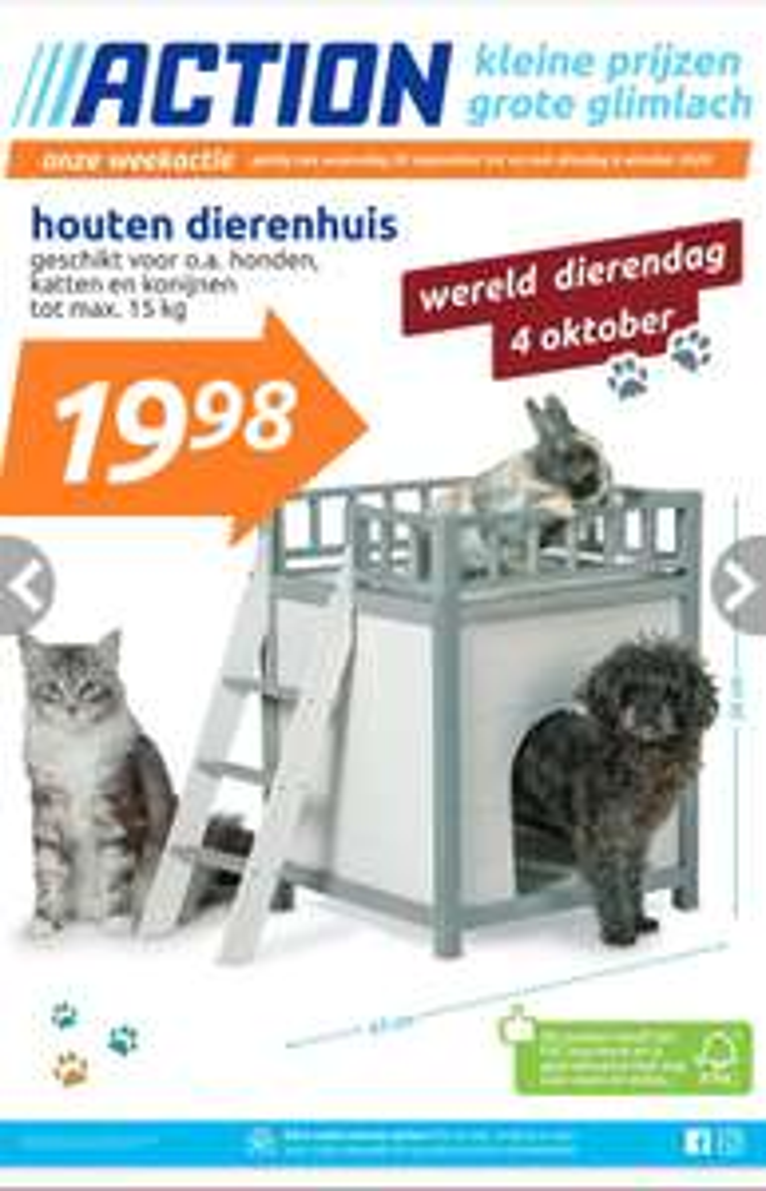 Houten dierenhuis voor €19,98 @ Action