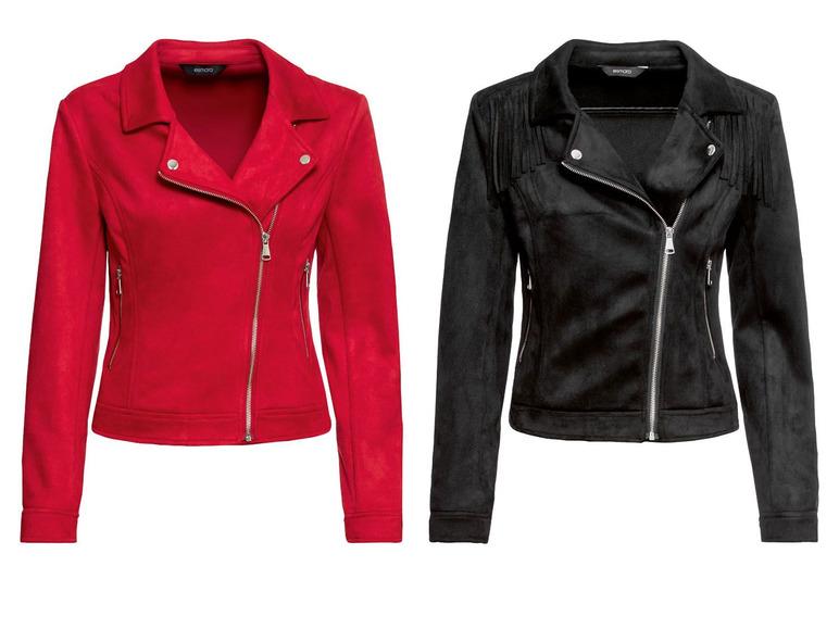 Lidl Esmara bikerjack velours stof zwart en rood