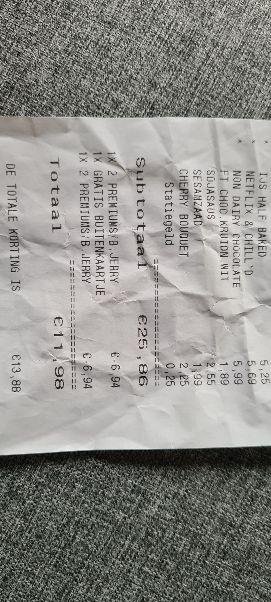 Prijsfout ben & Jerry's 3 bekers €3,05 @ Plus