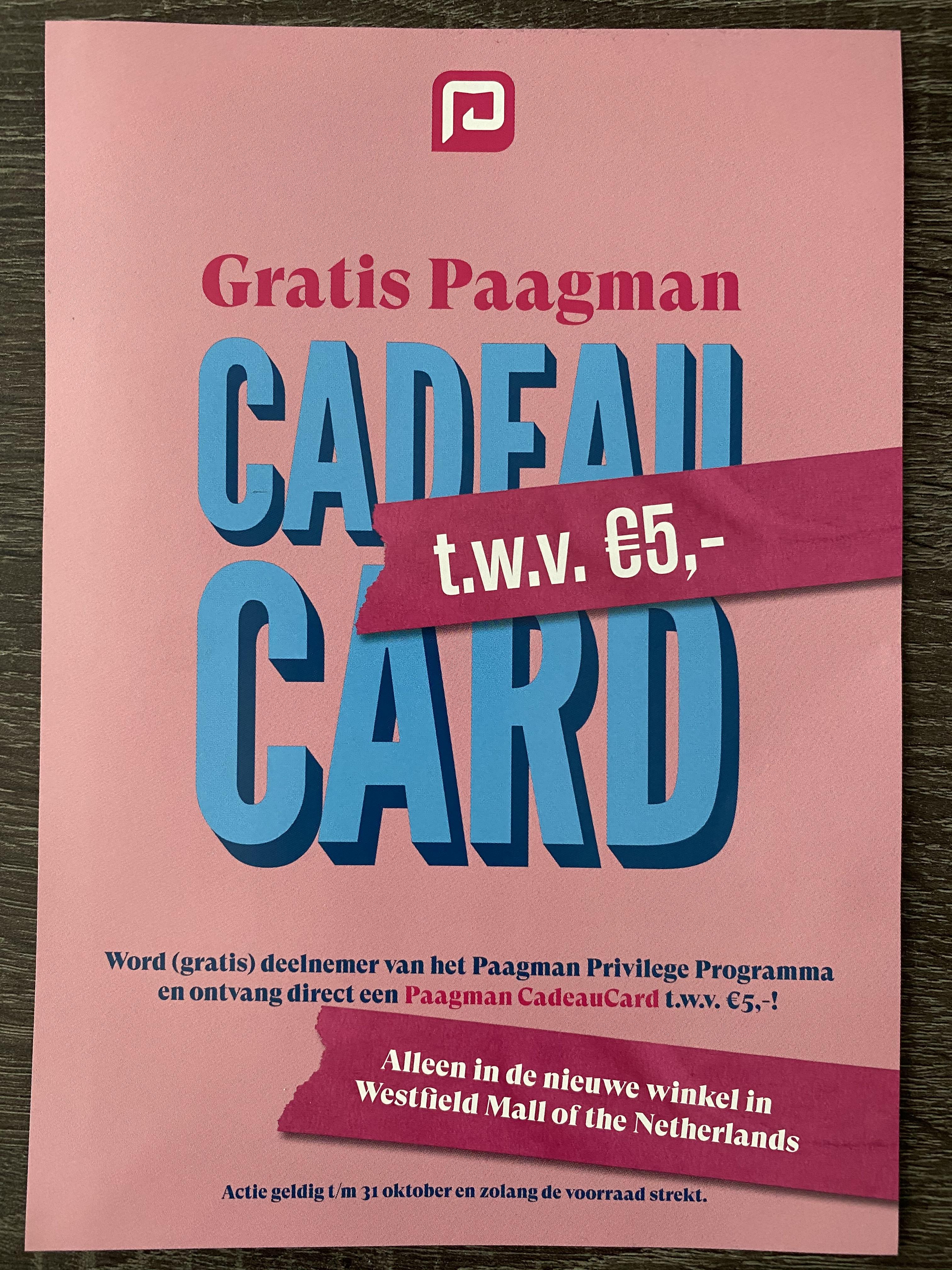 (LOKAAL) Ontvang een cadeaukaart van €5 bij het aanmaken van een klantenkaart in de winkel bij Paagman