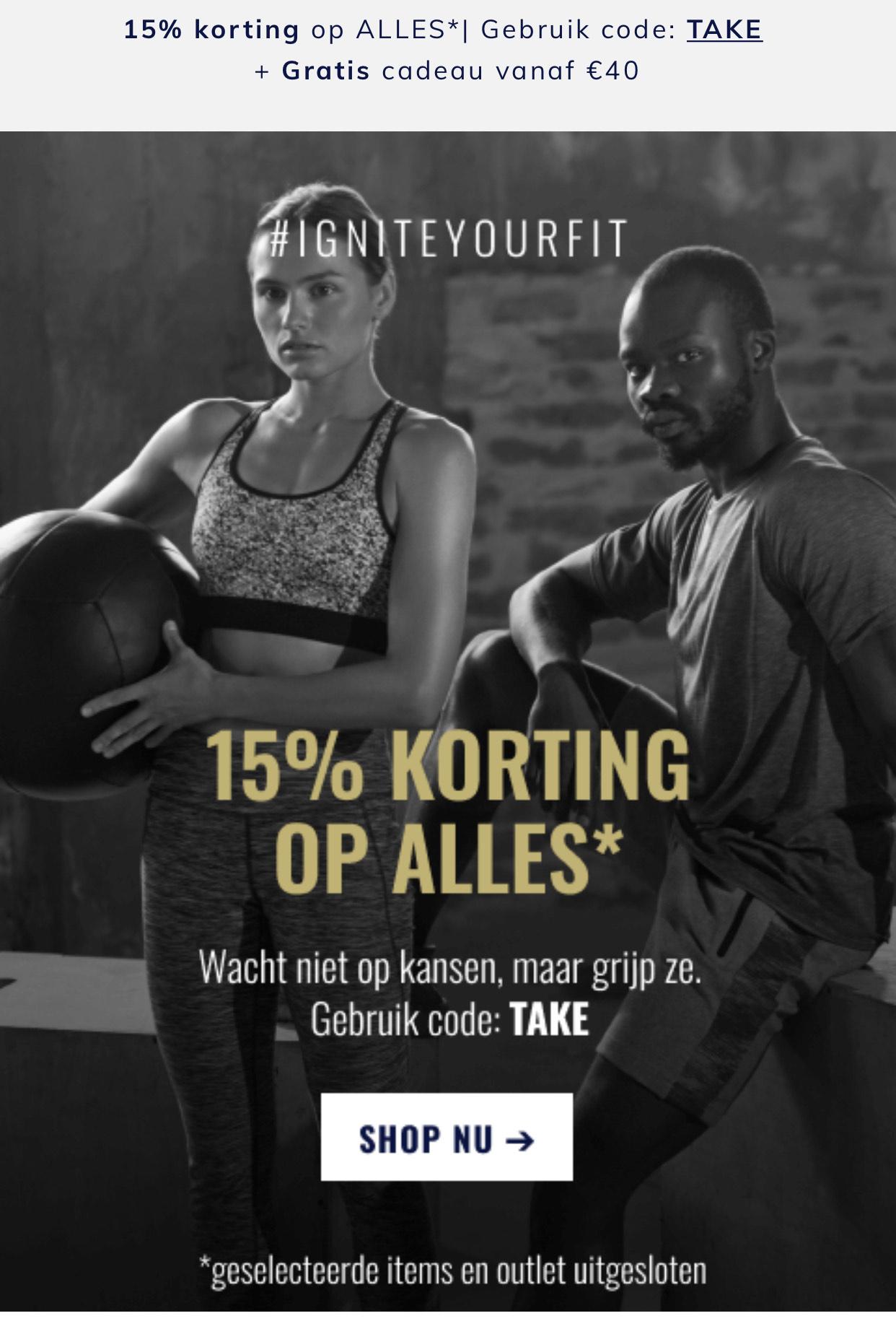15% korting op alles bij bodyandfit