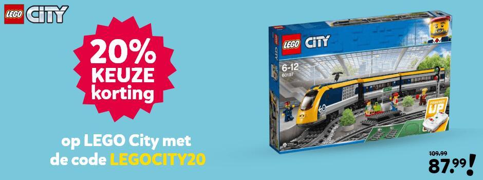 20% keuze korting op lego city bij Intertoys met kortingscode