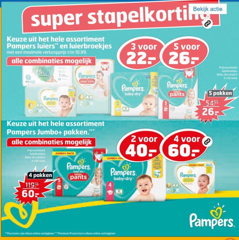 Goedkope aanbieding Pampers @Trekpleister 3 voor €22 of 5 voor €26