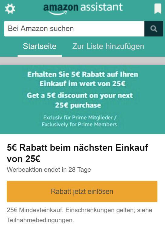 €5 korting bij een min. besteding van €25 door installeren Amazon-Assistant @ Amazon.de (Prime)