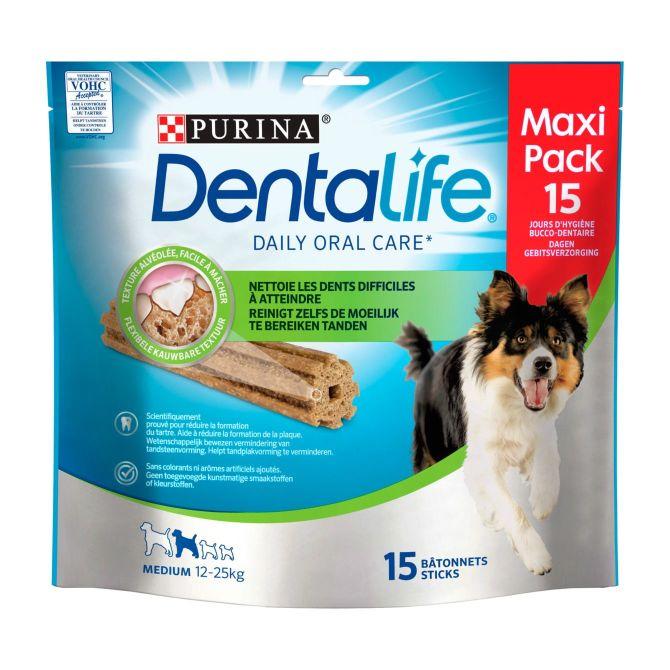 2 stazakken á 345g met Purina honden dentalife medium snacks van €8 voor €2 @ Coop