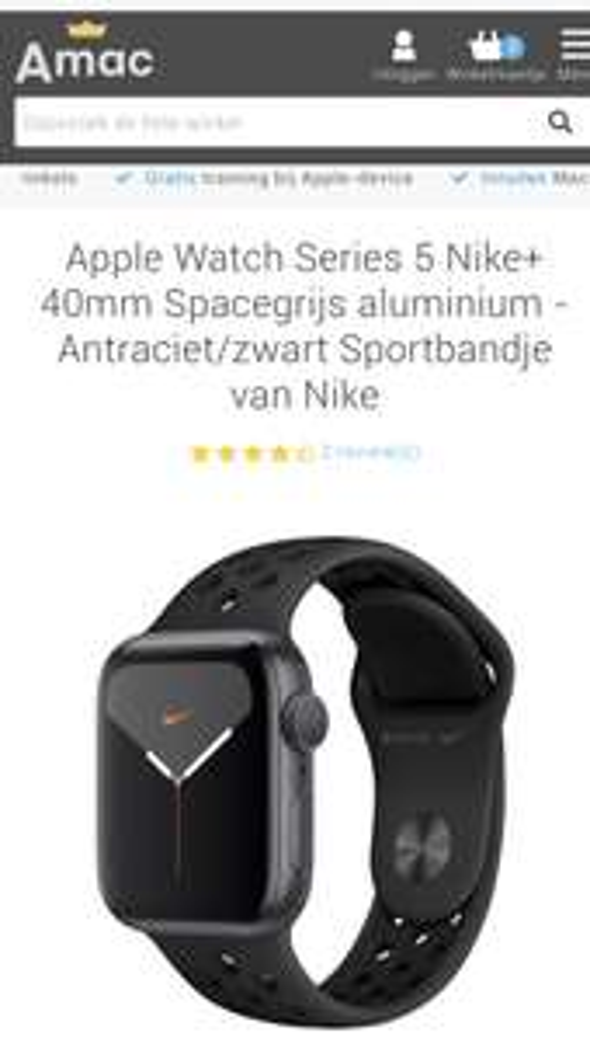Apple Watch Series 5 Nike+ 40mm Spacegrijs aluminium - Antraciet/zwart Sportbandje van Nike
