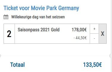 Twee seizoenskaarten voor €133,50 van Movie Park Germany