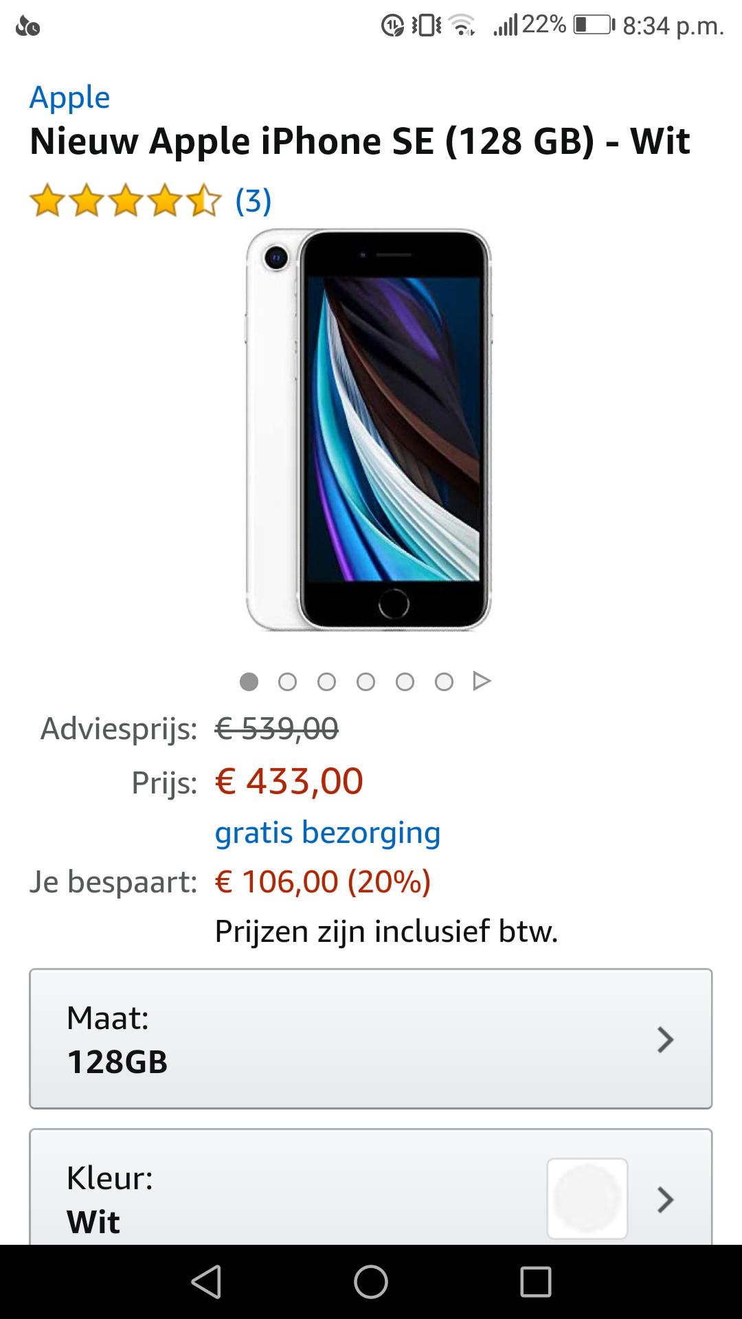Apple iphone se 128gb wit