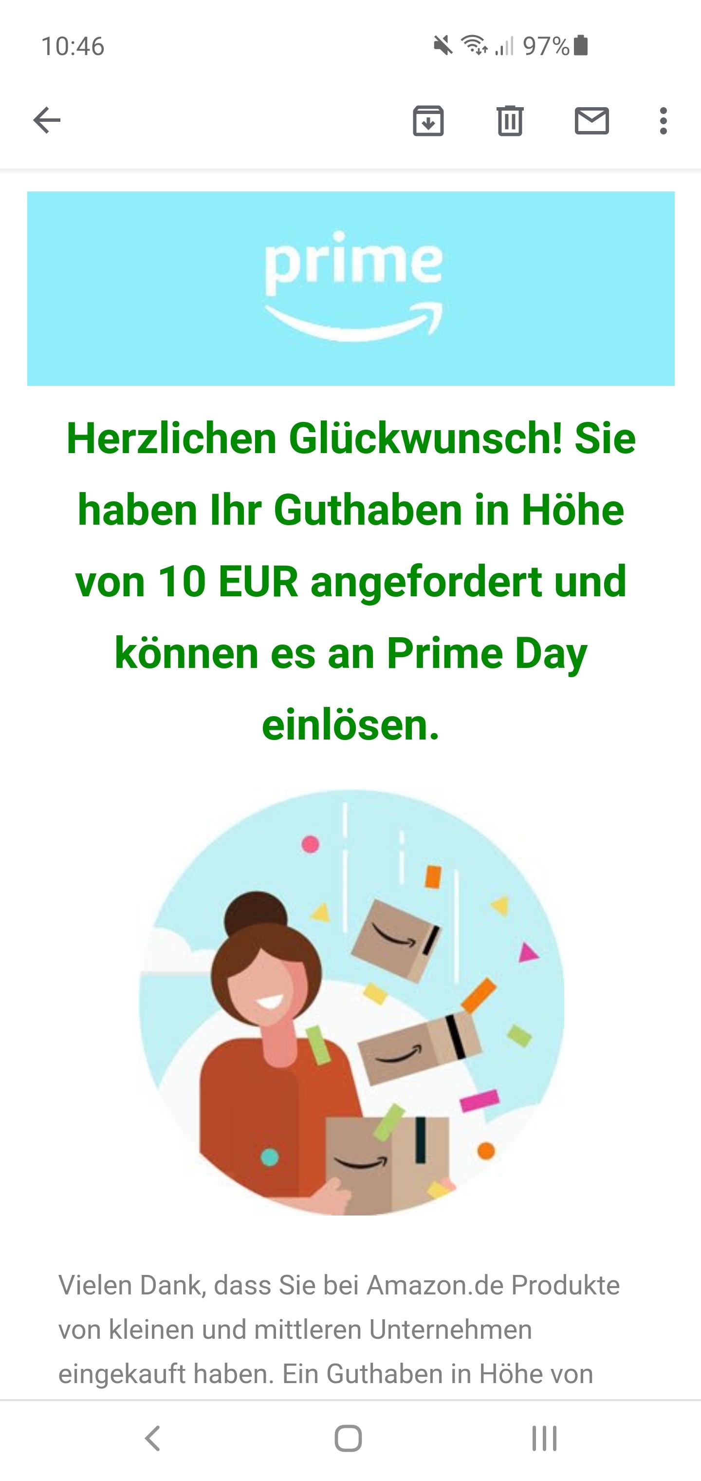 10 Euro tegoed (bij aankoop) voor Amazon.de Prime Day
