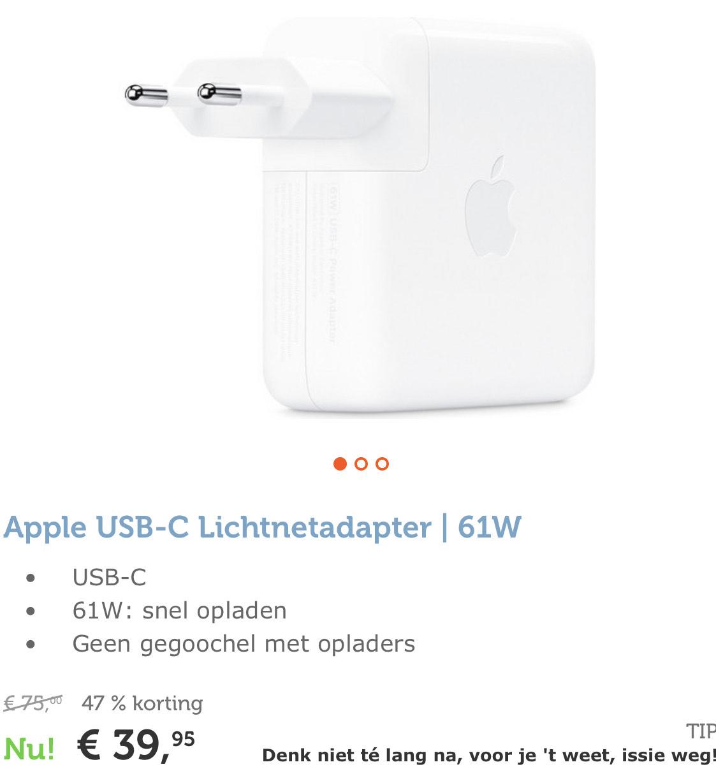 Apple USB-C Lichtnetadapter | 61W