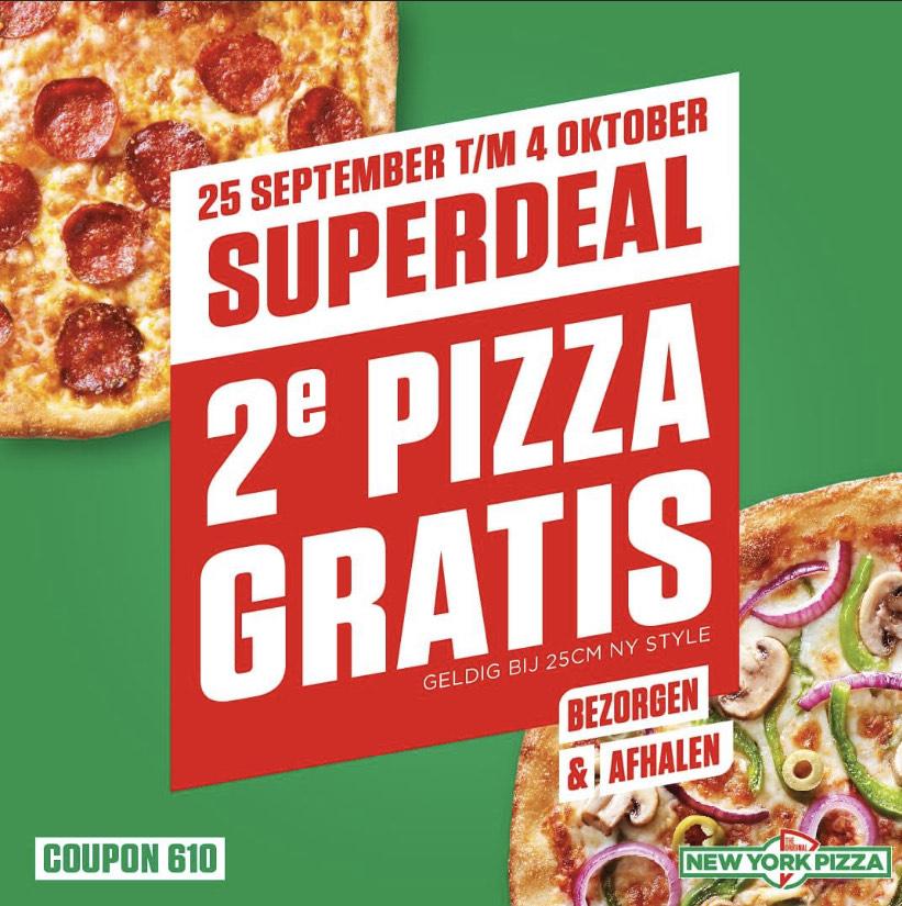 2e pizza gratis bij New York Pizza t/m 4 oktober (afhalen/bezorgen)