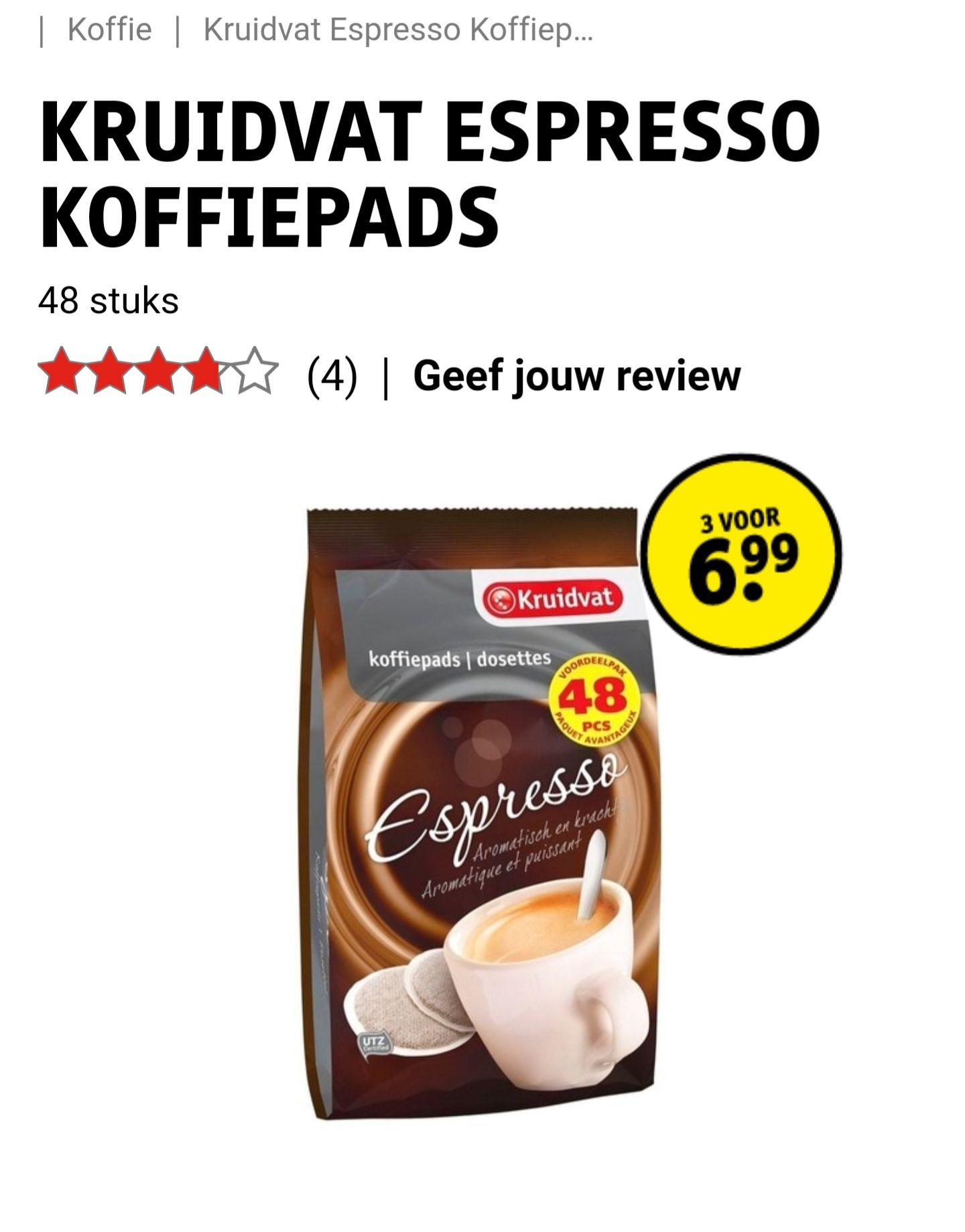 144 koffie pads voor 6.99
