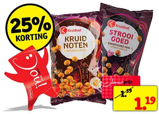 Kruidvat Dagdeal: 8 uitdeelzakjes (totaal 400 gram) Kruidnoten van €1,29 voor €0,97 of 8 zakjes Strooigoed (800 gram) van €2,49 voor €1,87