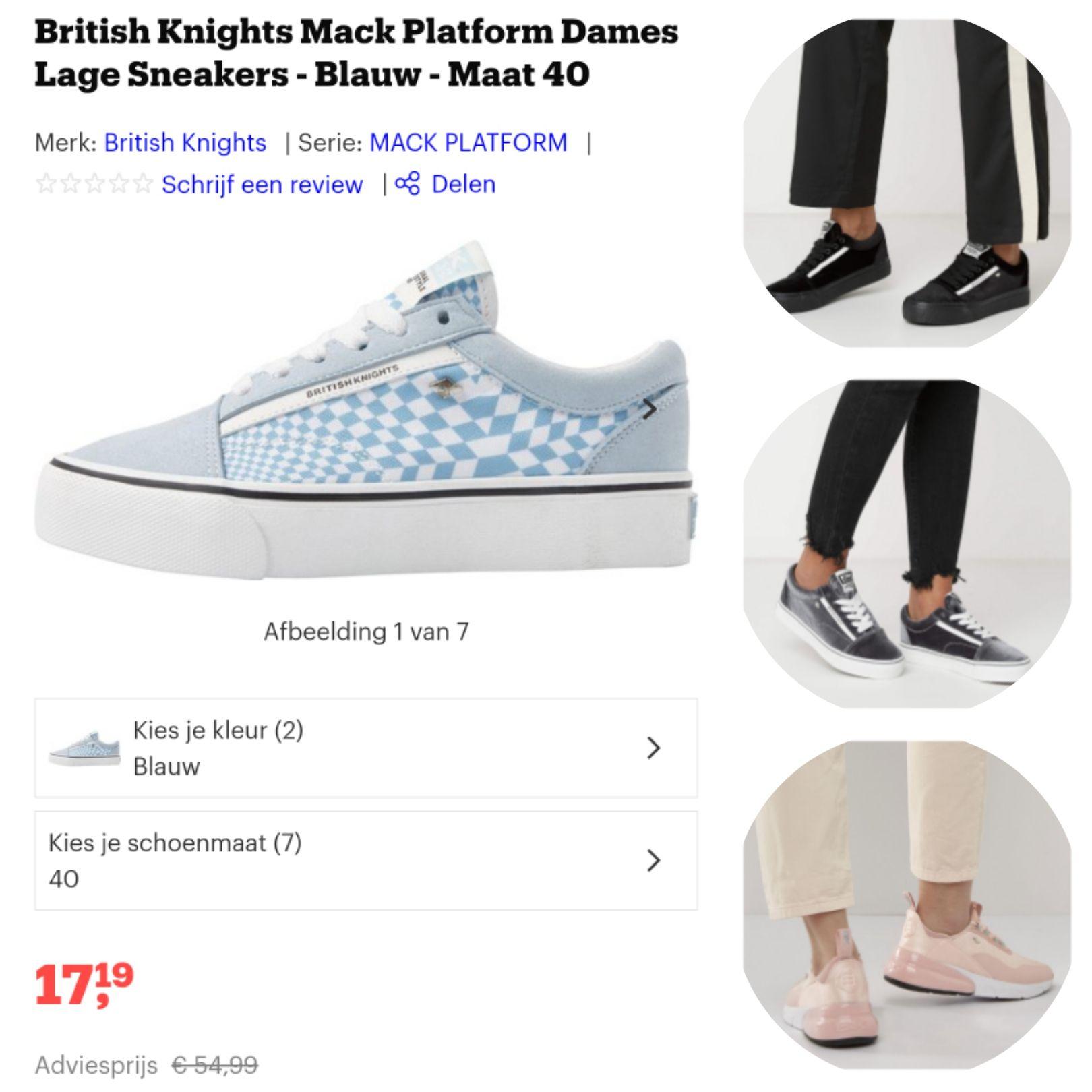 british knights mack platform dames lage sneakers blauw en nog veel meer modellen.