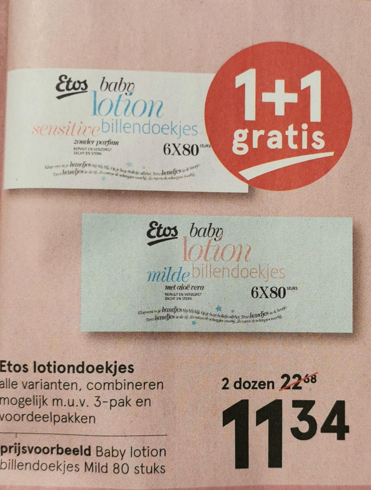 1+1 gratis op de Etos billendoekjes / lotiondoekjes