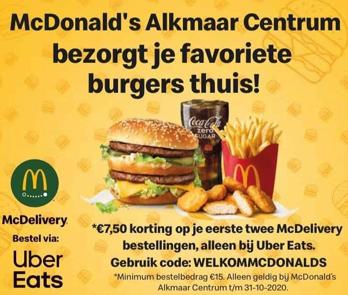 Mcdonalds Alkmaar centrum bezorgt nu ook thuis!