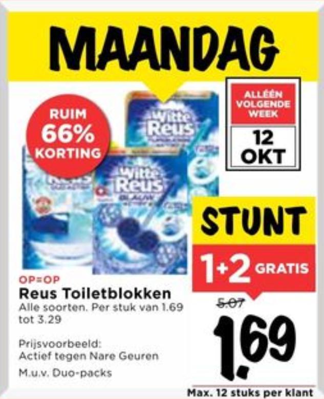 [12 oktober] Witte Reus toiletblokken 1+2 GRATIS @ Vomar