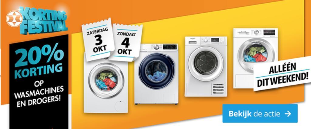 20% + 4,5% korting op wasmachines & drogers @ Expert