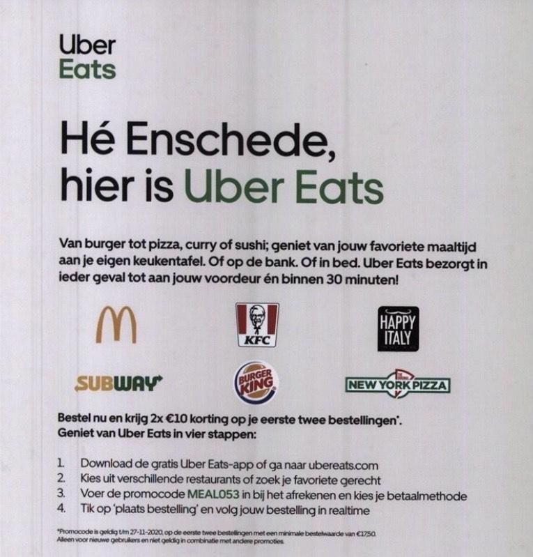 Lokaal Enschede?: Uber Eats 2 x €10 korting (nieuwe klanten)