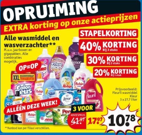 A-merk wasmiddelen v.a. €0,06 / beurt en verzachters v.a. €0,015 / beurt @ Kruidvat