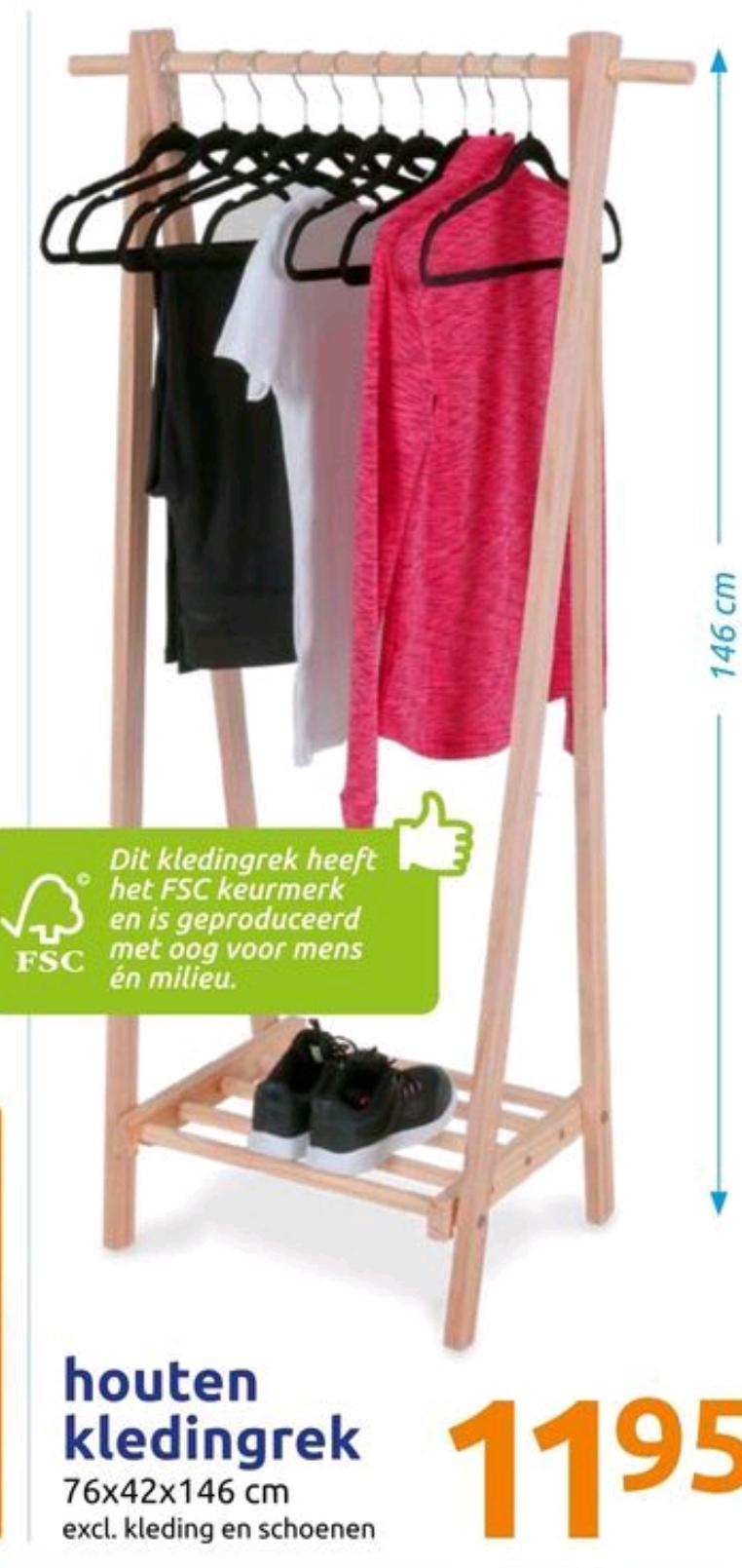 Houten kledingrek 76x42x146 cm voor €11,95 @ Action