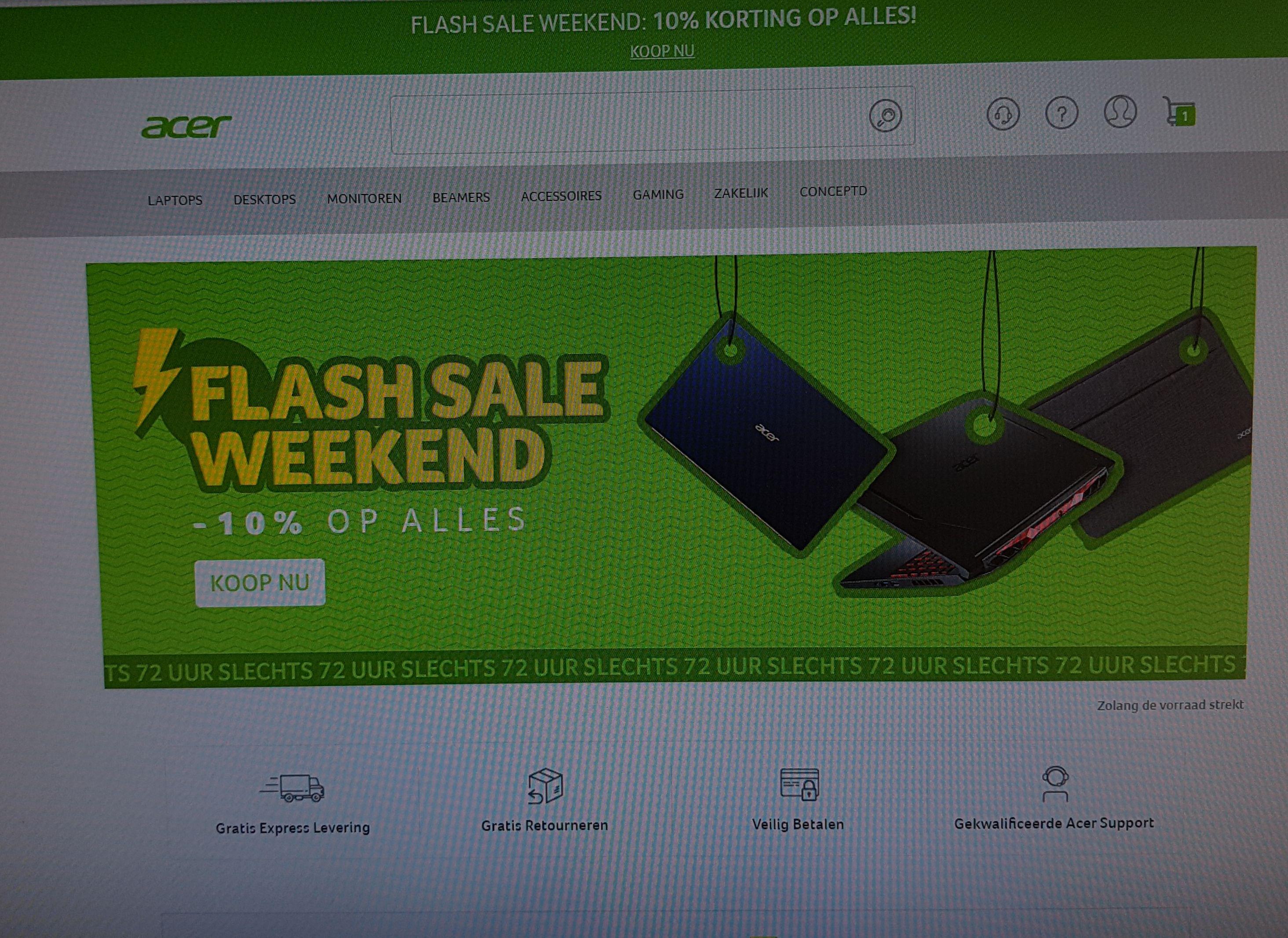 Flash Sale Weekend Acer - 10% op alles