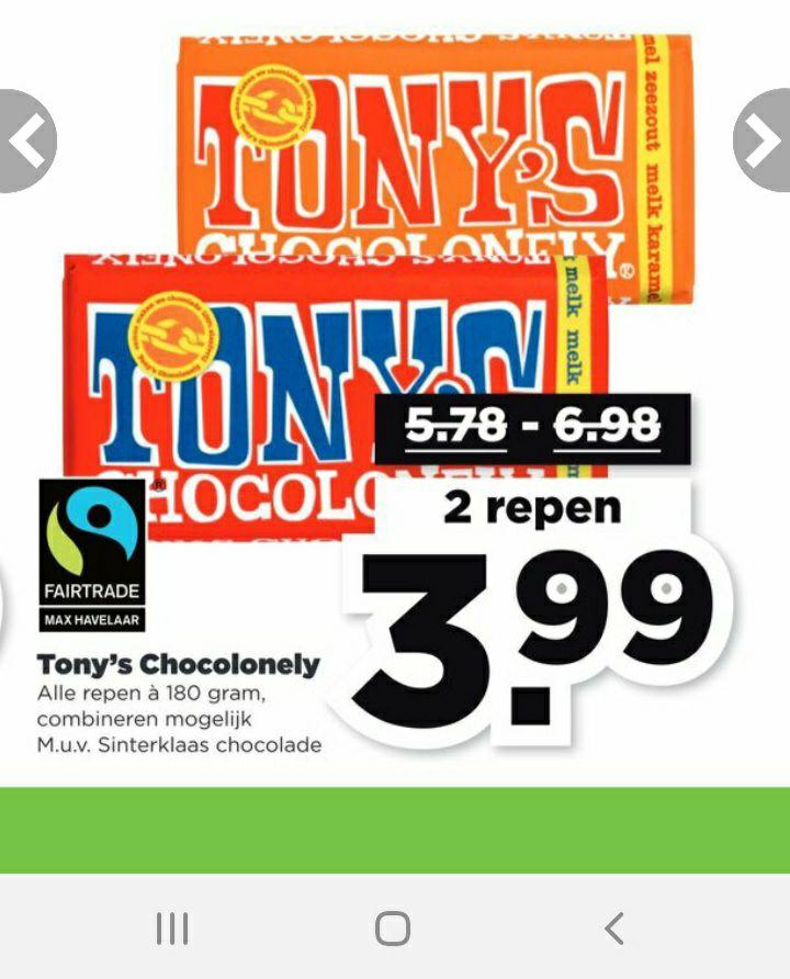 2 Tony's Chocolonely repen voor 3,99 - Plus