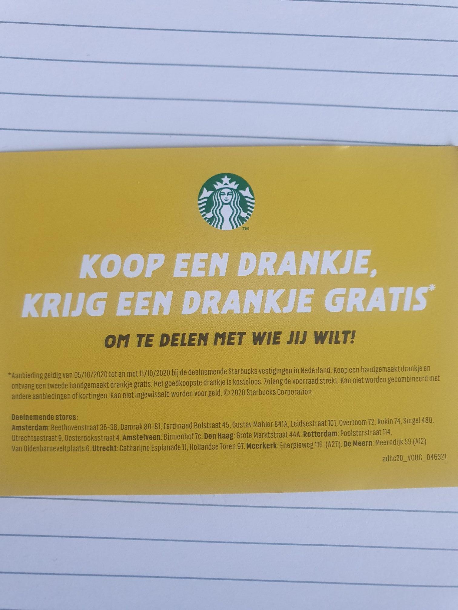 Starbucks 2e drankje gratis