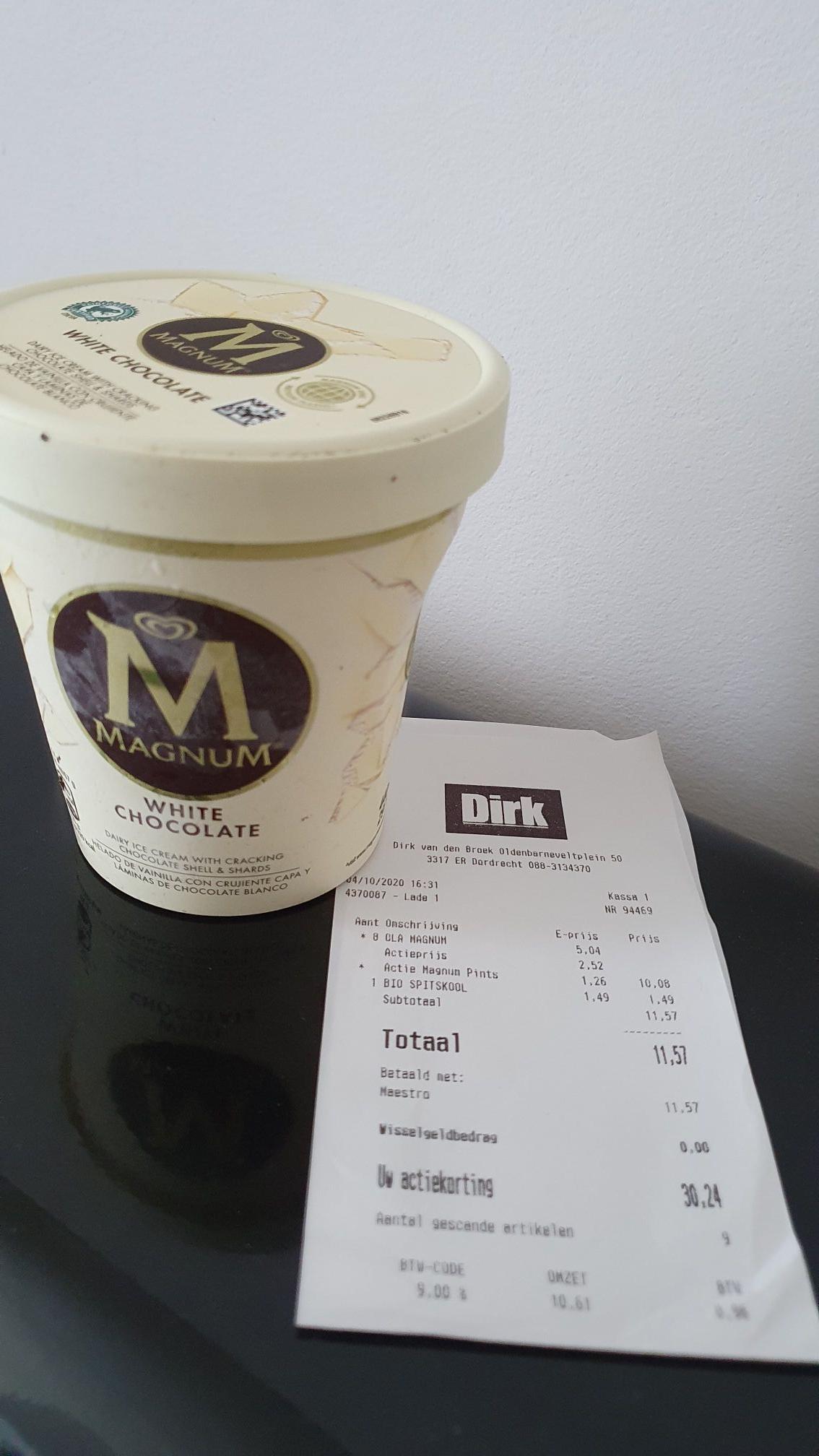 Magnum White Chocolate pints 2 stuks voor €2.52