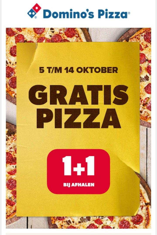 Tweede pizza gratis, bij afhalen Domino's