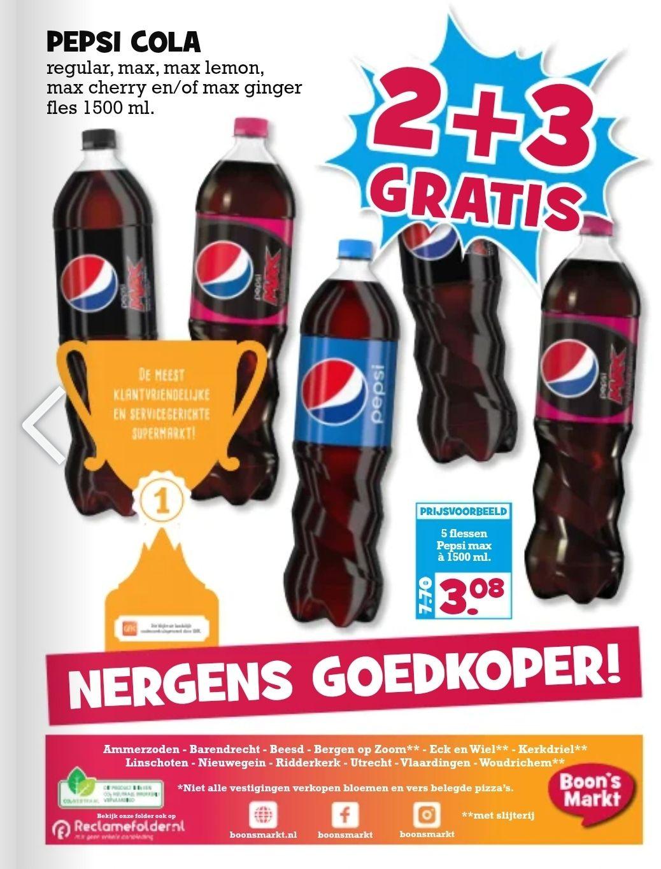 Pepsi Cola, Regular, Max, Max Lemon, Max Cherry en/of Max Ginger 2+3 gratis - Boons supermarkt