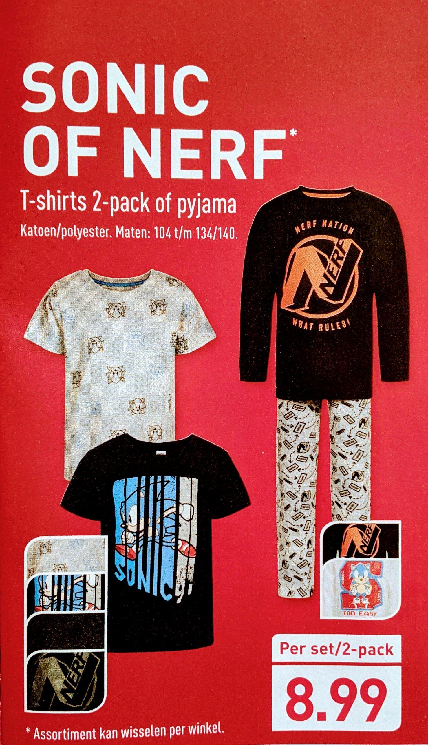 SONIC OF NERF T-shirts 2-pack of pyjama Katoen/polyester. Maten: 104 t/m 134/140. Aldi van af 10-10-2020