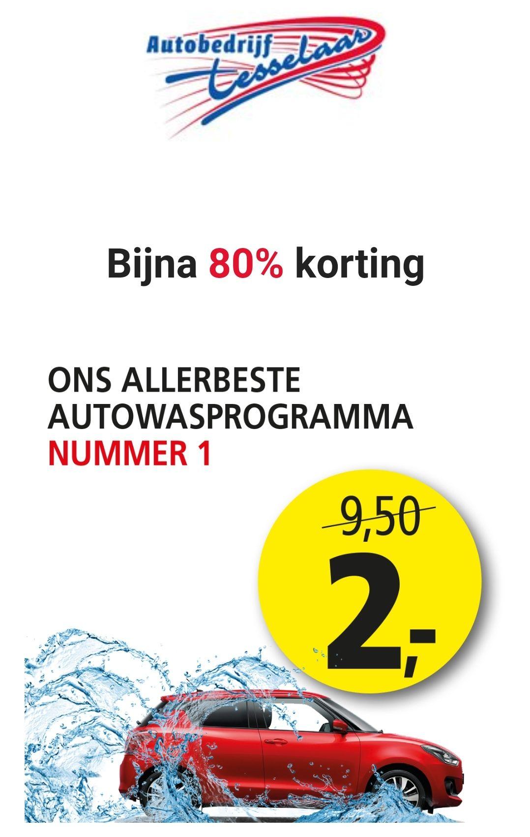 Lokale deal: Alkmaar omgeving. Autowasprogramma voor € 2,-