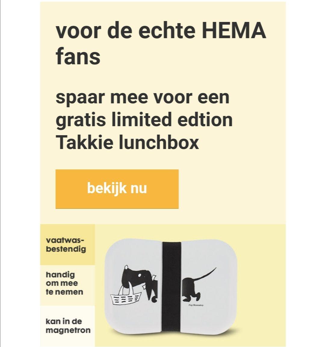 Gratis limited edition Takkie lunchbox tegen inlevering van 200 HEMA punten